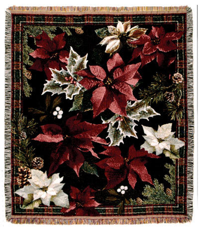 Tapestry - Poinsettia N' Plaid Throw