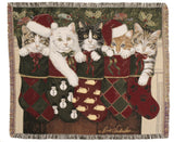 Christmas Kittens Tapestry Throw