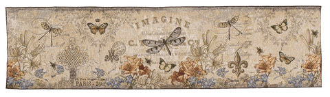 Vintage Dragonfly Tapestry Table Runner