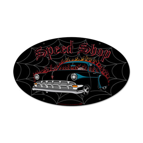 Speed Shop Metal Sign Wall Decor 24 x 12