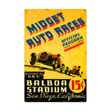 Midget Auto Races Metal Sign Wall Decor 24 x 36
