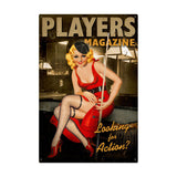 Players Pool Girl Metal Sign Wall Decor 24 x 36