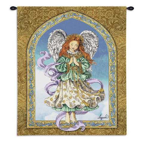 Angel in Prayer Wall Tapestry With Rod