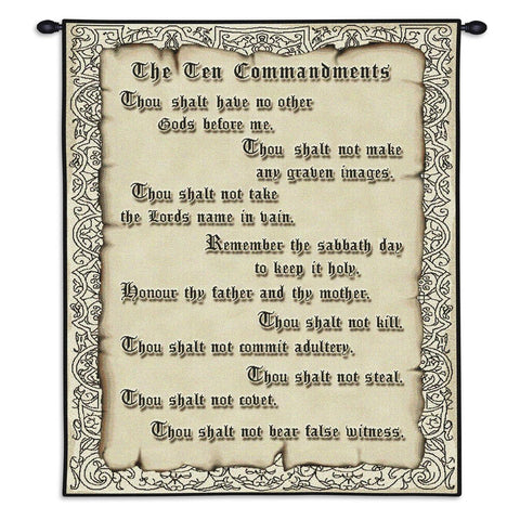 The Ten Commandments Wall Tapestry With Rod