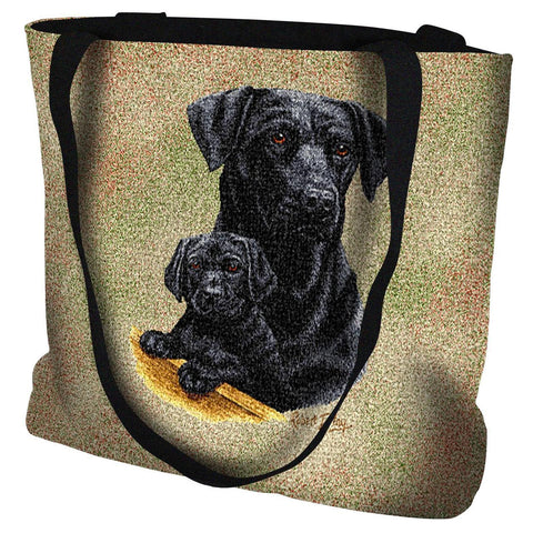 Labrador Retriever with Puppy Black Tote Bag