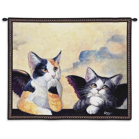 Cherub Cats Wall Tapestry With Rod