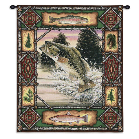Fish Lodge Bass Wall Tapestry With Rod