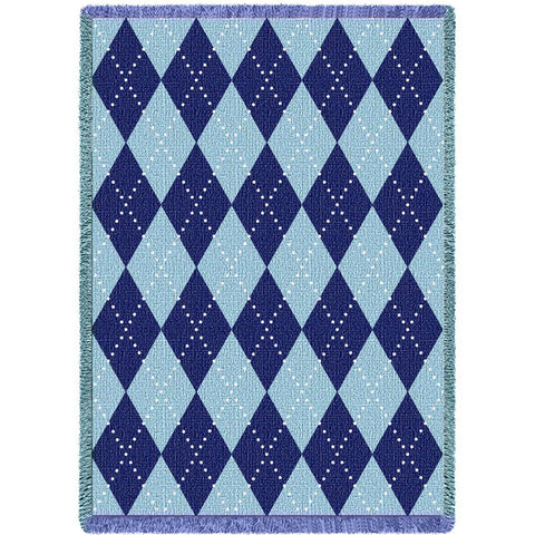 Sky Blue Argyle Blanket