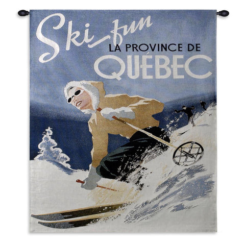 Ski Quebec Small Wall Tapestry With Rod
