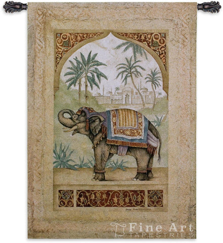 Old World Elephant II Trunk Up Wall Tapestry