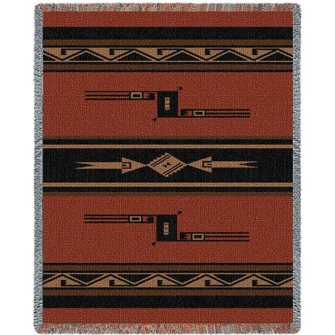 Southwest Geometric Black and Russet' Blanket