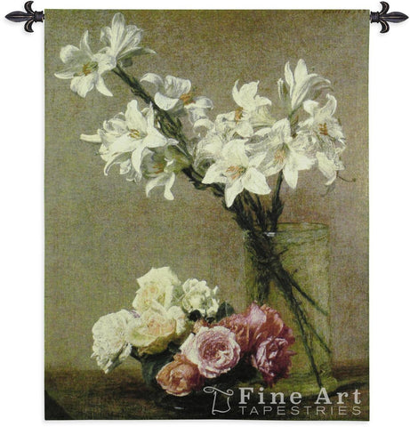 Roses And Lilies Wall Tapestry