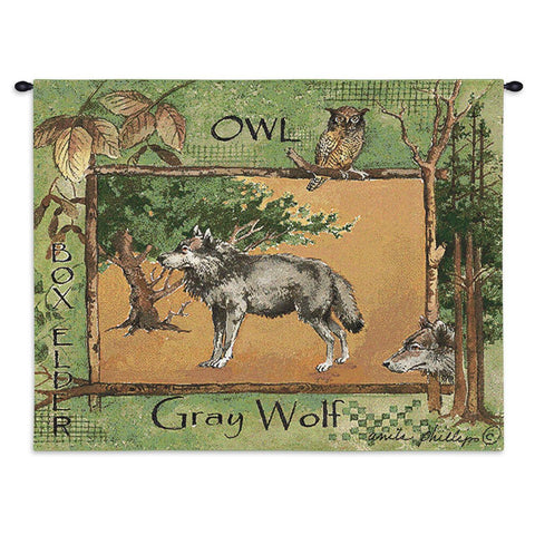 Gray Wolf Wall Tapestry With Rod