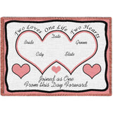 Two Hearts Pink Blanket