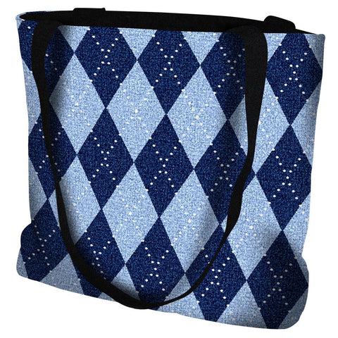 Sky Blue Argyle Tote Bag