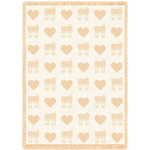 Heart and House Natural Blanket