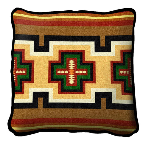 Southwest Geometric Green and Red Pillow