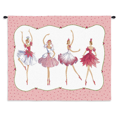 Four Ballerinas Wall Tapestry With Rod