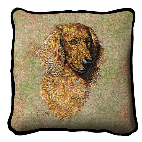Long-haired Dachshund Red Pillow