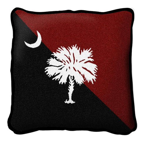 Palmetto Moon Red and Black Pillow