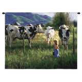 Anniken And Cows Wall Tapestry With Rod