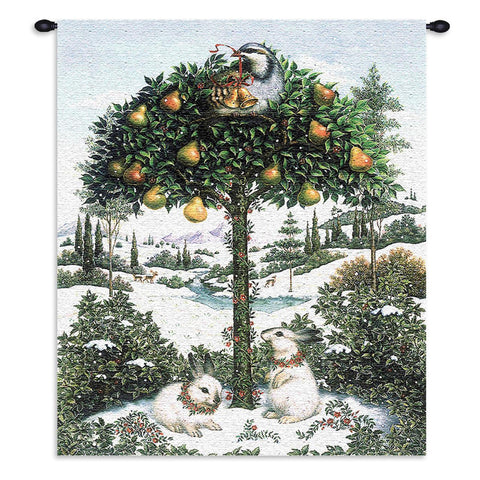 Partridge In Tree Wall Tapestry With Rod