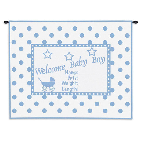 Welcome Baby Boy Wall Tapestry With Rod