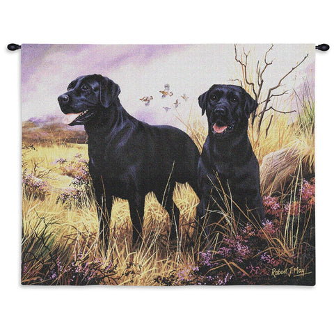 Labrador Retriever Black Wall Tapestry with Rod
