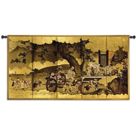 Seven Gods of Good Fortune and Chinese Children Small Wall Tapestry