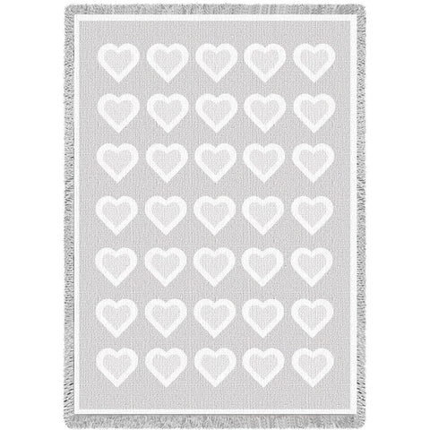 Basketweave Hearts White Chenille Natural Small Blanket