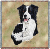 Border Collie with Puppy Small Blanket