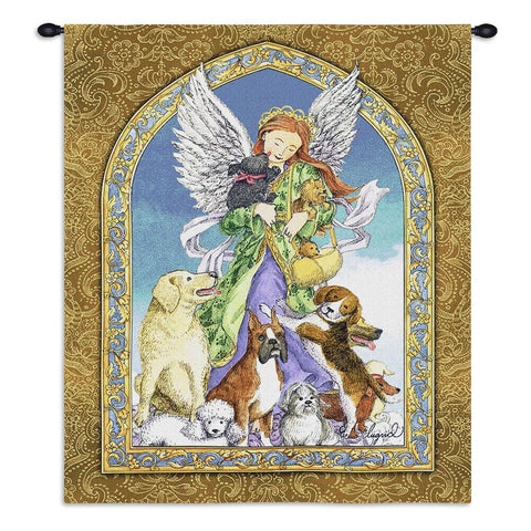 Angel and Dogs Wall Tapestry With Rod