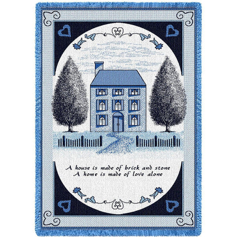 Salt Box House Navy Blanket
