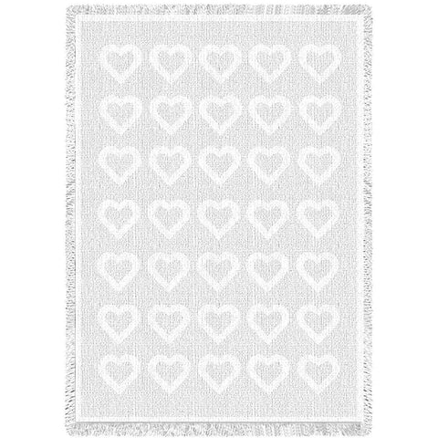 Basketweave Hearts White Natural Small Blanket