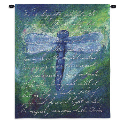 Dragonfly Poem Wall Tapestry With Rod