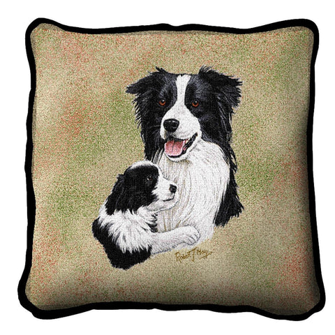 Border Collie with Puppy Pillow