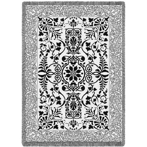 Black and White Floral Scroll Blanket