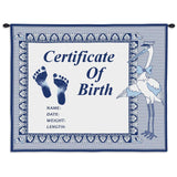 Birth Certificate Boy Wall Tapestry With Rod