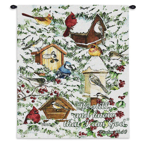 A Winter's Gift Wall Tapestry With Rod