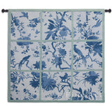 Floral Division Blue and Green Small Wall Tapestry