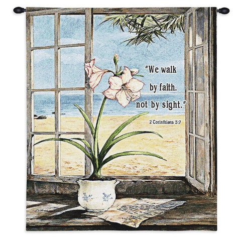 Ocean Amaryllis Wall Tapestry With Rod