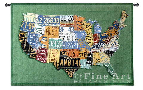 USA Tags Large Wall Tapestry