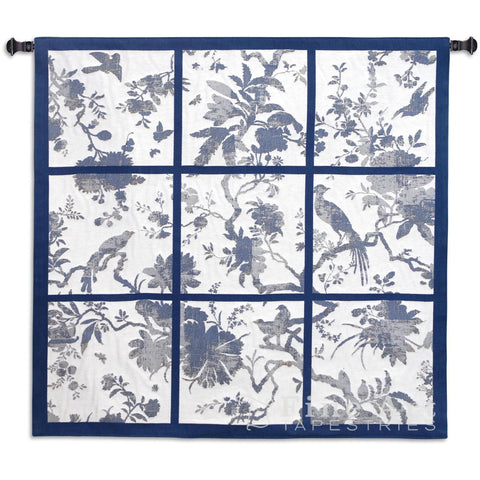 Floral Division Blue and Oyster Small Wall Tapestry