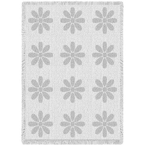 Flowers White Natural Small Blanket