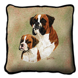 Boxer with Puppy Pillow Cover