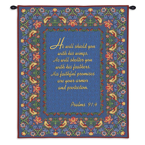 Psalms 91:4 Wall Tapestry With Rod