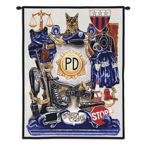 Policeman Pride Wall Tapestry With Rod