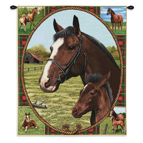 Thoroughbred Mare and Foal Wall Tapestry With Rod