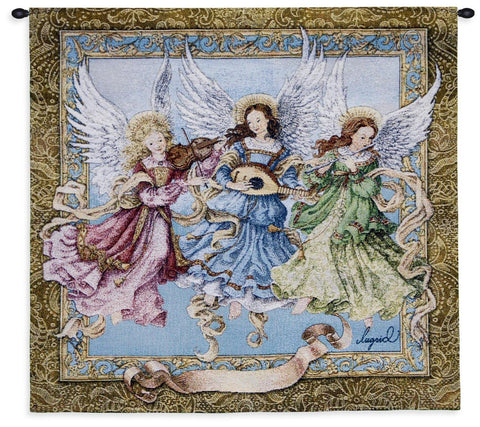 Angelic Trio Wall Tapestry With Rod