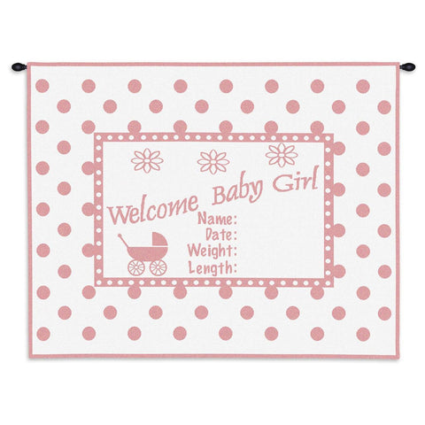 Welcome Baby Girl Wall Tapestry With Rod